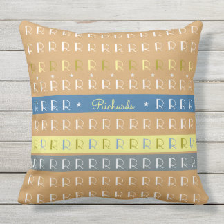 cool and stylish typography patio pillow with name