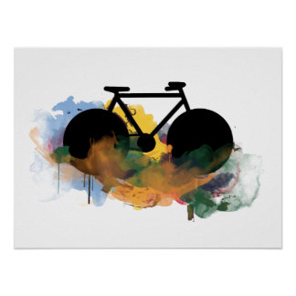 cool bicycle grafitti art style poster