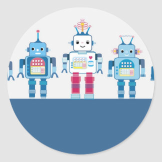 Cool Blue and Red Robots Novelty Gifts Classic Round Sticker