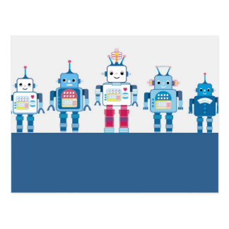 Cool Blue and Red Robots Novelty Gifts Postcard