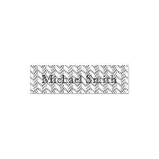 Cool Blue Chevron Pattern Monogram Self-inking Stamp