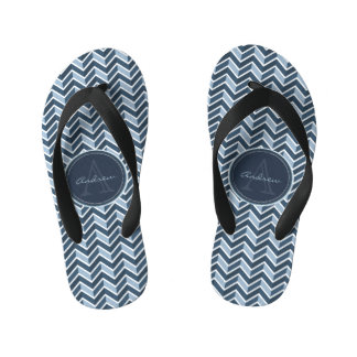 Cool Blue Chevron Pattern Monogram Thongs