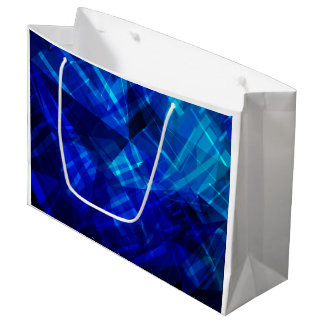 Cool Blue Ice Geometric Pattern Large Gift Bag
