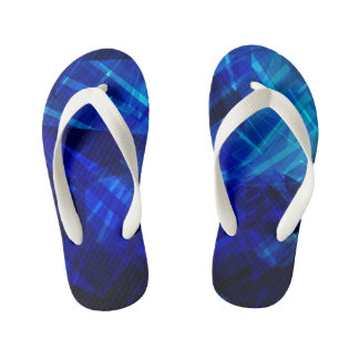 Cool Blue Ice Geometric Pattern Thongs
