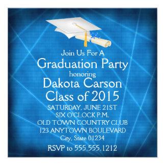 Cool Blue Lazer Light Graduation Invitations