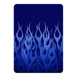 Cool Blue on Blue Racing Flames decorative 13 Cm X 18 Cm Invitation Card