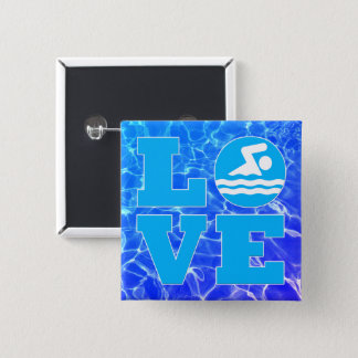 Cool Blue Pool Water Swim LOVE Coach or Instructor 15 Cm Square Badge