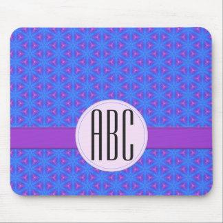 Cool Blue Purple Geometric Custom Monogram Mouse Pad