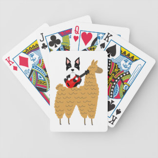 Cool Boston Terrier Playing Guitar Bicycle Playing Cards