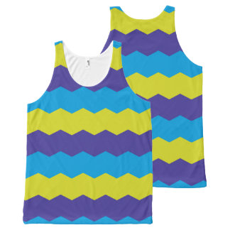 Cool Bright Abstract Waves All-Over Print Tank Top