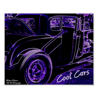 Cool Cars Neon Poster