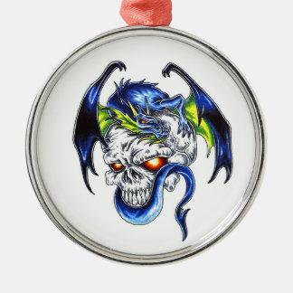 Cool cartoon tattoo symbol Blue Dragon Skull Round Metal Christmas Ornament