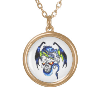 Cool cartoon tattoo symbol Blue Dragon Skull Gold Plated Necklace