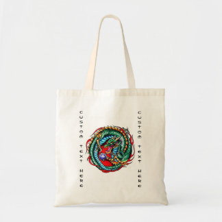 Cool cartoon tattoo symbol Dragon and Orb Budget Tote Bag