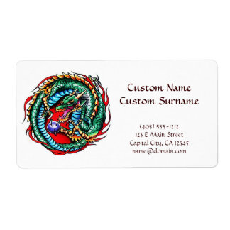 Cool cartoon tattoo symbol Dragon and Orb Shipping Label