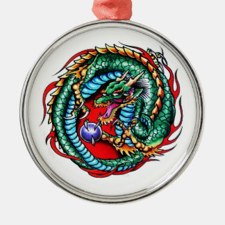 Cool cartoon tattoo symbol Dragon and Orb Silver-Colored Round Decoration