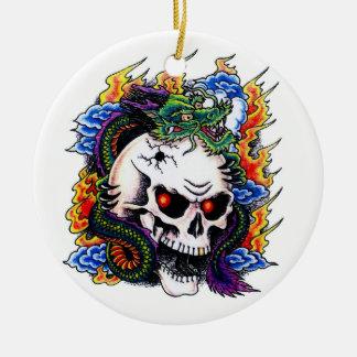 Cool cartoon tattoo symbol dragon skull flames Double-Sided ceramic round christmas ornament