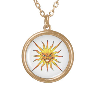 Cool cartoon tattoo symbol evil Sun face Gold Plated Necklace
