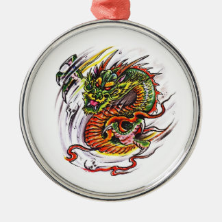 Cool cartoon tattoo symbol oriental Dragon Round Metal Christmas Ornament
