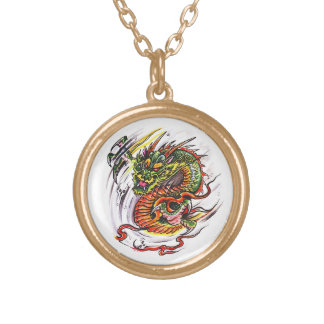 Cool cartoon tattoo symbol oriental Dragon Gold Plated Necklace