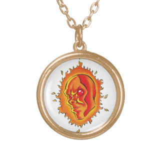 Cool cartoon tattoo symbol Sun face flame fire Gold Plated Necklace