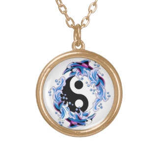 Cool cartoon tattoo symbol Yin Yang Dolphins Gold Plated Necklace