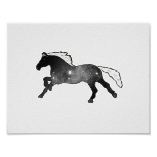 Cool Chic Galaxy Horse Black and White Nebula Poster