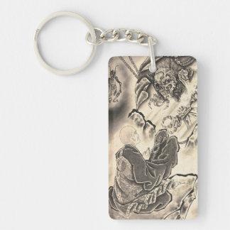 Cool classic vintage japanese demon monk tattoo key ring