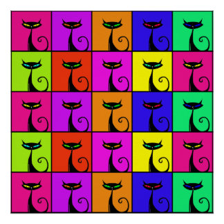 Cool Colorful Kitty Cat Pop Art Squares Poster