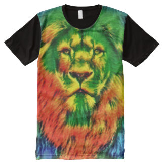 Cool Colorful Trippy Lion Tie Dye Art All-Over Print T-Shirt