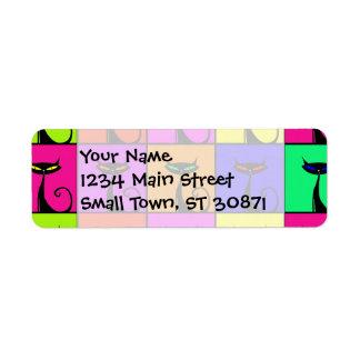 Cool Colourful Kitty Cat Pop Art Squares Return Address Label