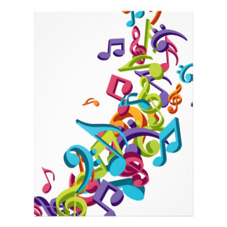 cool colourful music notes and sounds 21.5 cm x 28 cm flyer