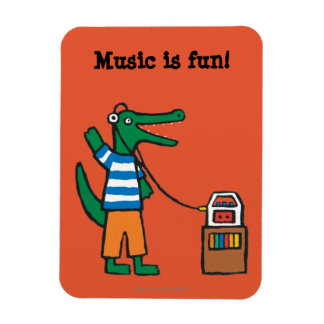 Cool Crocodile Listens to Music Magnet