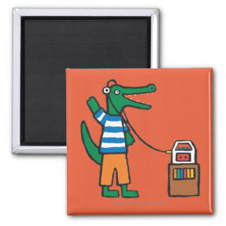 Cool Crocodile Listens to Music Square Magnet