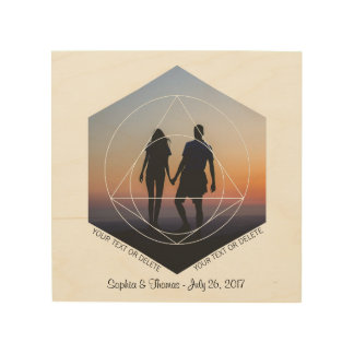 Cool Custom Wedding Photo Name Date Geometric Art Wood Print