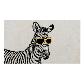 Cool cute funny zebra sketch with trendy glasses business cards