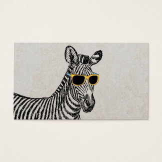 Cool cute funny zebra sketch with trendy glasses business card