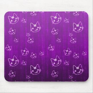 Cool cute japanese purple  kitty cat neko pattern mouse pad