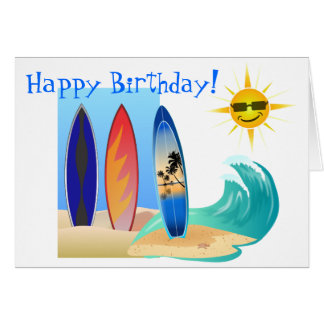 Cool Day At The Beach Surfing Surfboard Birthday Card