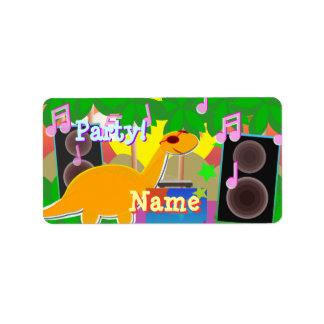 Cool Dinosaur DJ Music Party Label Stickers Address Label