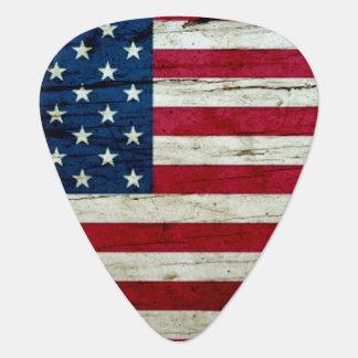 Cool Distressed American Flag Wood Rustic Plectrum