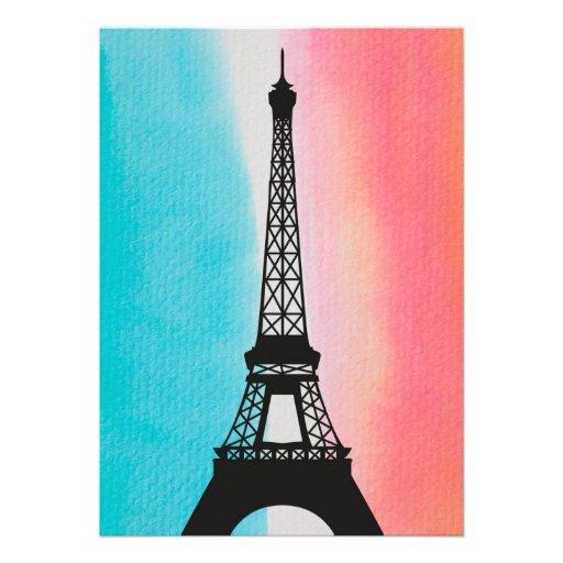 Cool Eiffel Tower Paris iron colourful background Custom Invitations