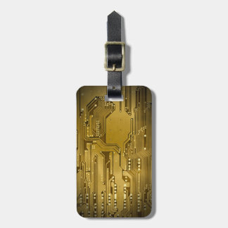 Cool Elegant Faux Gold Circuit Board Black Luggage Tag