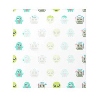 Cool Emoji Alien Ghost Robot Face Pattern Notepad