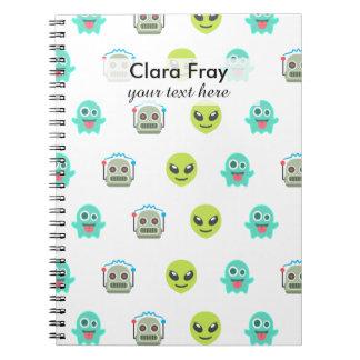 Cool Emoji Alien Ghost Robot Face Pattern Spiral Note Books