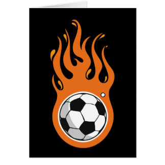 Cool Fire Soccer Ball greeting card
