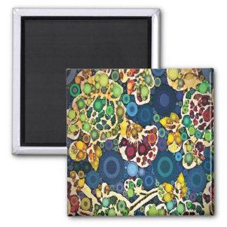 Cool Flower Mosaic Concentric Circles Art Design Square Magnet