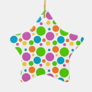 Cool Funky Multicolored Polka Dot Pattern Circle Christmas Ornament