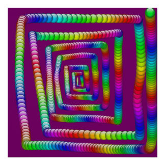 Cool Funky Rainbow Maze Rolling Marbles Design Poster