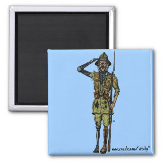 Cool funny cyborg soldier magnet design